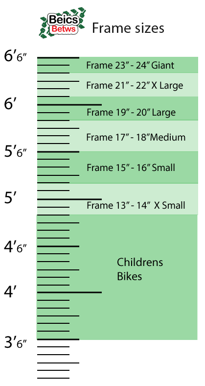 height chart for bike frame size